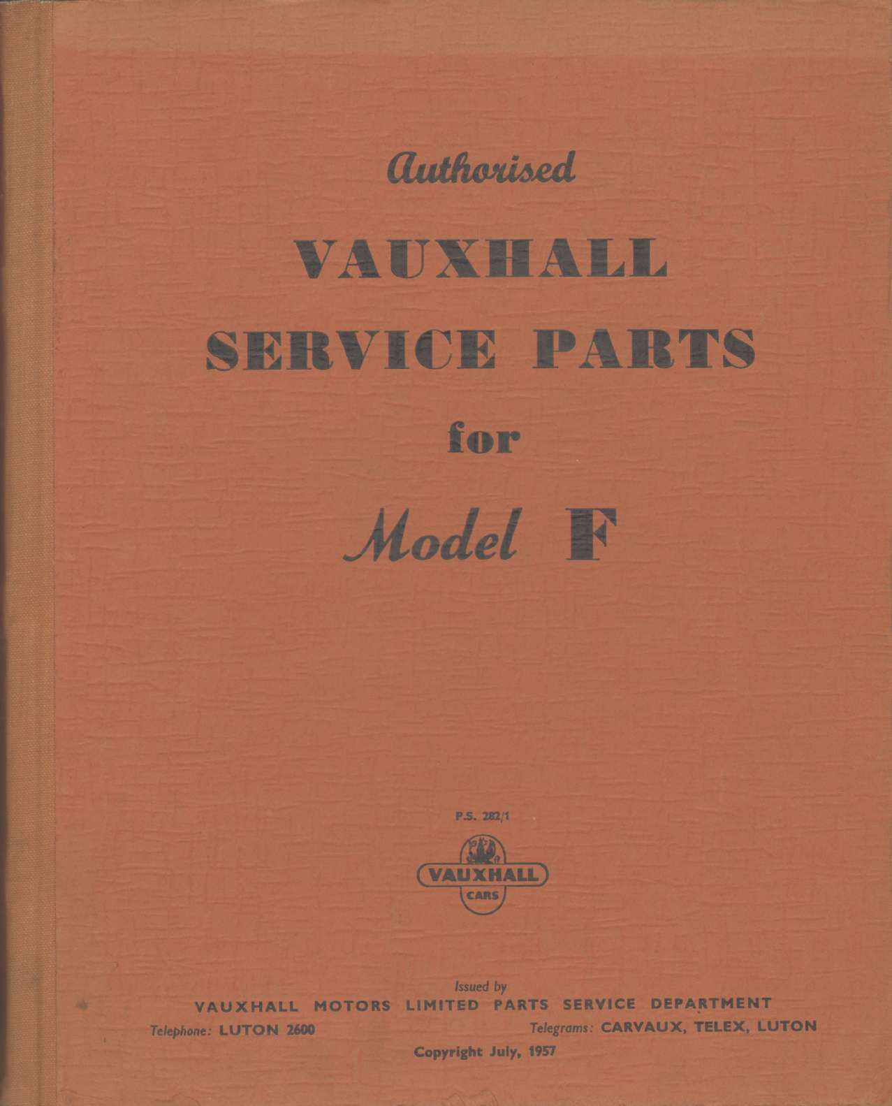 Image for VAUXHALL SERVICE PARTS FOR MODEL F